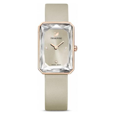 Uptown Watch, Leather strap, Grey, Rose-gold tone PVD Swarovski