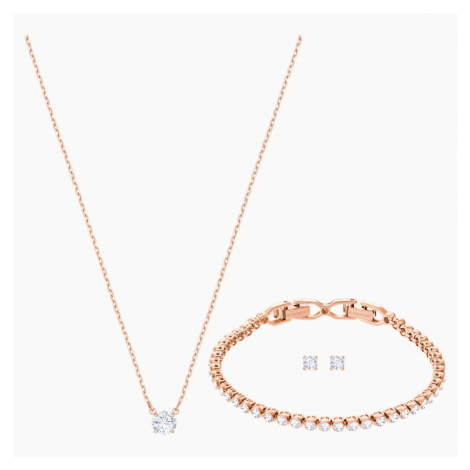 Attract Emily Set, White, Rose-gold tone plated Swarovski