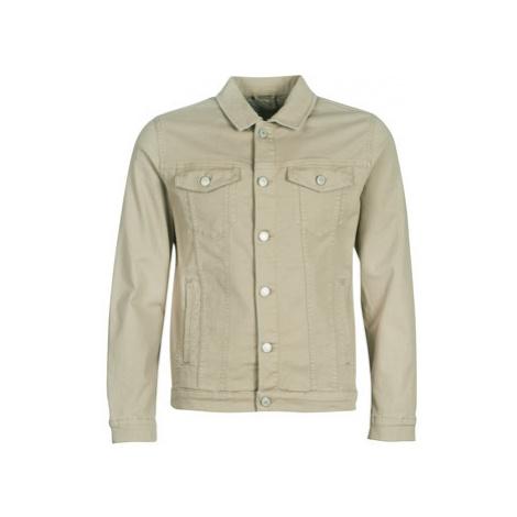 Jack Jones JJIALVIN men's Leather jacket in Beige
