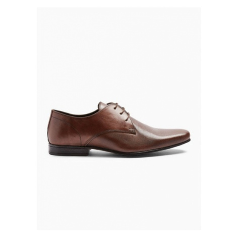Mens Brown Leather Bright Emboss Shoes, Brown Topman
