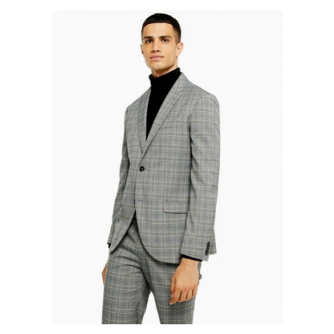 Mens Grey Check Slim Fit Single Breasted Suit Blazer With Peak Lapels, Grey Topman