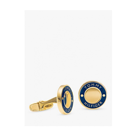 Tommy Hilfiger Cool Core Enamel Round Cufflinks, Gold/Blue