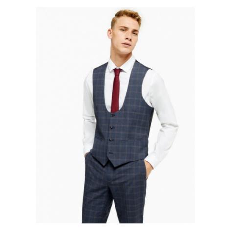 Mens Navy Check Suit Waistcoat, Navy Topman