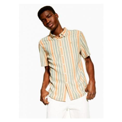 Mens Orange Farah Stripe 'Linde' Overshirt*, ORANGE
