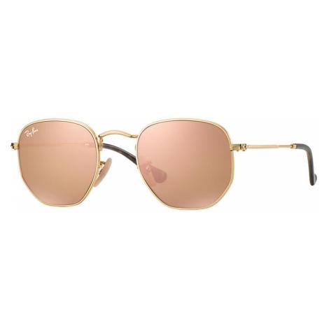 Ray-Ban Hexagonal flat lenses Unisex Sunglasses Lenses: Pink, Frame: Gold - RB3548N 001/Z2 51-21