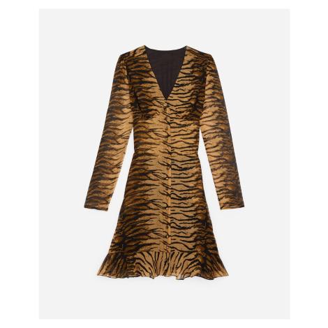 The Kooples - Buttoned short rock-style dress w/tiger print - WOMEN The Kooples Sport