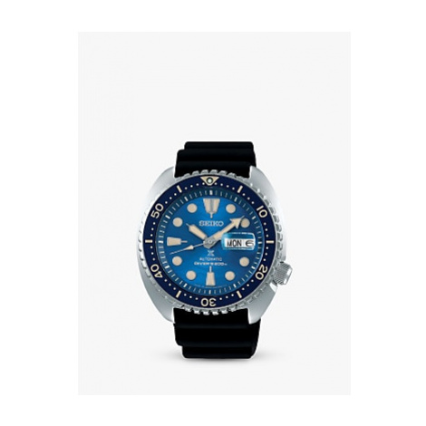 Seiko SRPE07K1 Men's King Turtle Automatic Day Date Silicone Strap Watch, Black/Blue