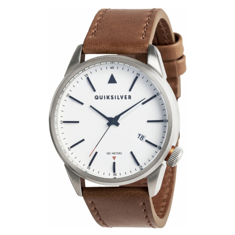 watch Quiksilver The Timebox 42 Leather - XSWC/Silver/White/Brown - men´s