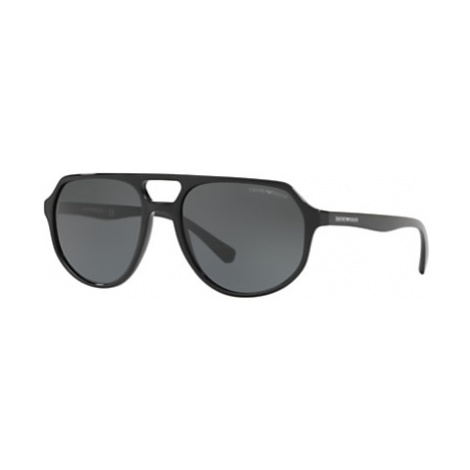 Emporio Armani EA4111 Aviator Sunglasses, Black/Grey