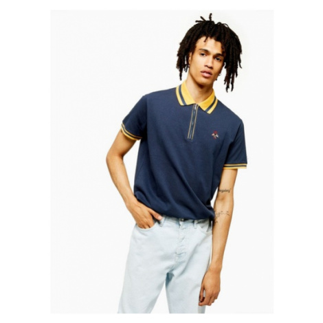 Mens Navy And Gold Embroidered Polo, Navy Topman
