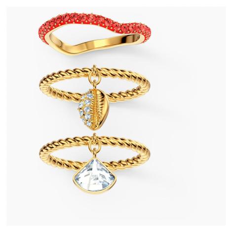 Shell Ring Set, Red, Gold-tone plated Swarovski
