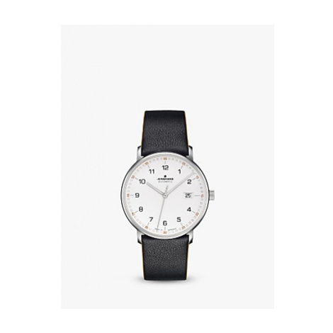 Junghans 027/4731.00 Men's Form Automatic Date Leather Strap Watch, Black/White