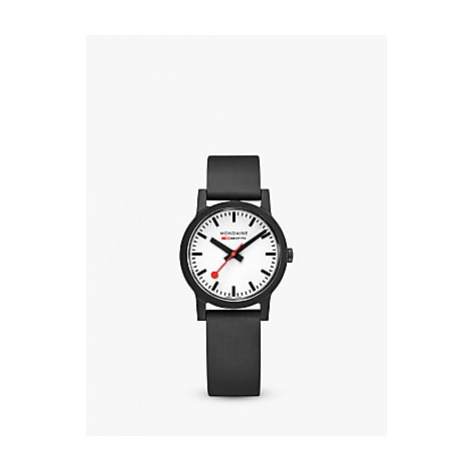 Mondaine MS1.32110.RB Unisex Essence Rubber Strap Watch, Black/White