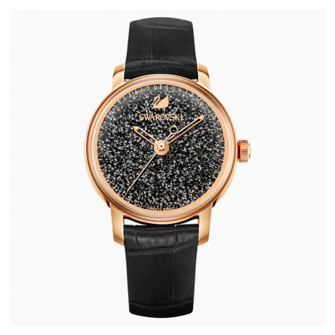 Crystalline Hours Watch, Leather strap, Black, Rose-gold tone PVD Swarovski