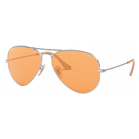 Ray-Ban Aviator washed evolve Unisex Sunglasses Lenses: Orange, Frame: Silver - RB3025 9065V9 58