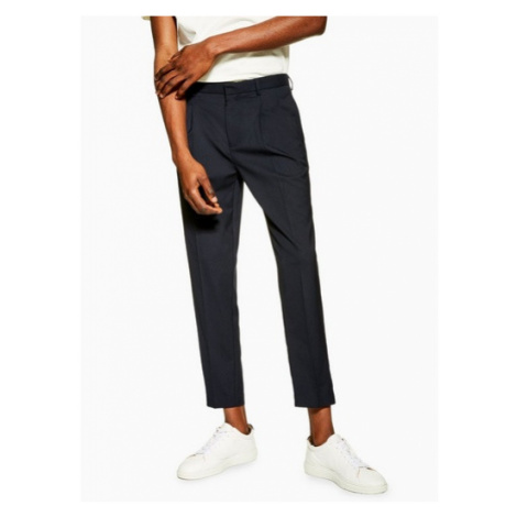Mens Navy Pleated Smart Tapered Fit Trousers, Navy Topman