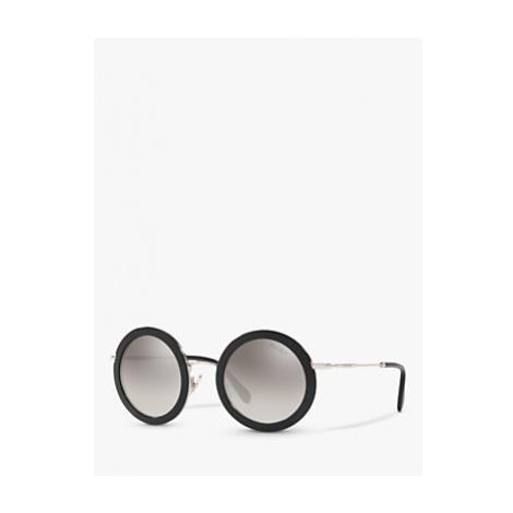 Miu Miu MU 59US Women's Round Sunglasses, Black/Mirror Grey