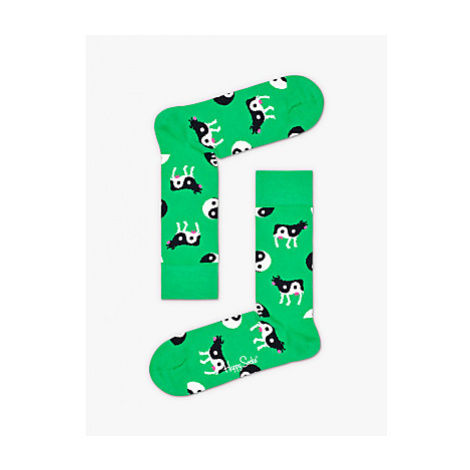Happy Socks Yin Yang Cow Socks, One Size, Green
