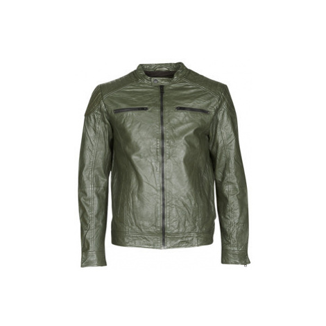 Jack Jones JJELIAM men's Leather jacket in Kaki Jack & Jones