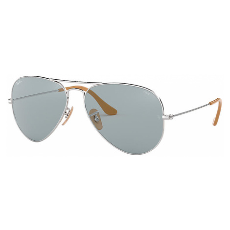 Ray-Ban Aviator washed evolve Man Sunglasses Lenses: Blue, Frame: Silver - RB3025 9065I5 55-14