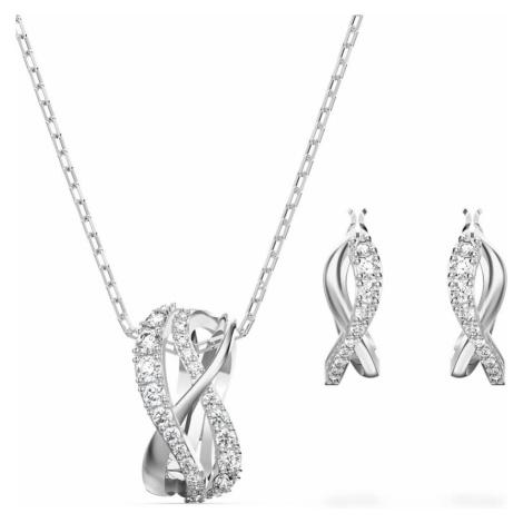 Swarovski Twist Rows White Crystal Necklace & Earring Set