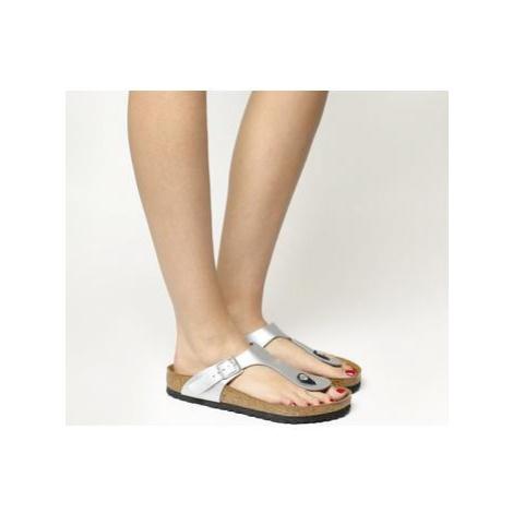 BIRKENSTOCK Toe Thong Footbed Sandals SILVER SYN