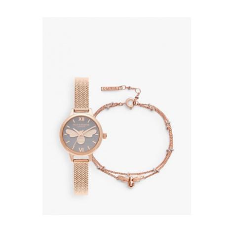 Olivia Burton OBGSET140 Women's Lucky Bee Bracelet Strap Watch and Chain Bracelet Gift Set, Rose