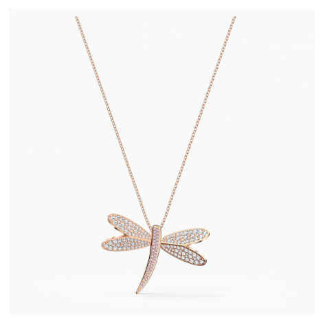 Eternal Flower Necklace, White, Rose-gold tone plated Swarovski