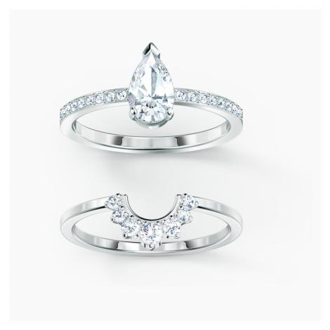 Attract Pear Ring Set, White, Rhodium plated Swarovski