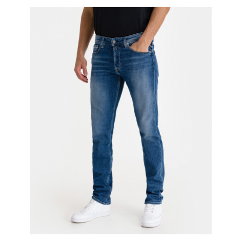 Blue men's straight jeans