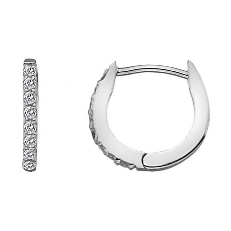 Hot Diamonds White Topaz and Diamond Huggie Hoop Earrings, Silver