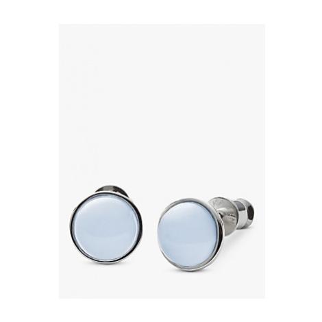Skagen Sea Glass Round Stud Earrings, Silver/Pale Blue SKJ0820040