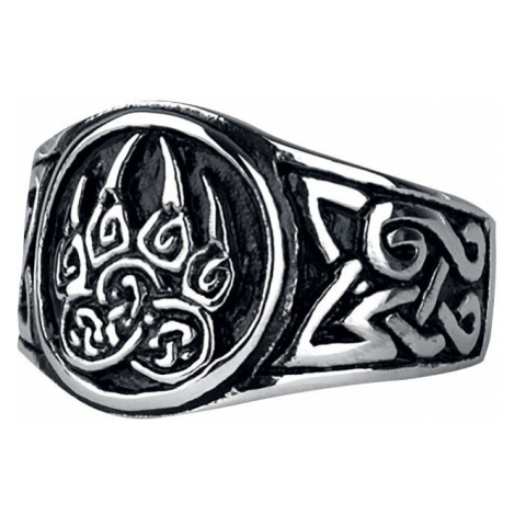 EtNox hard and heavy Bear's Paw Ring silver coloured