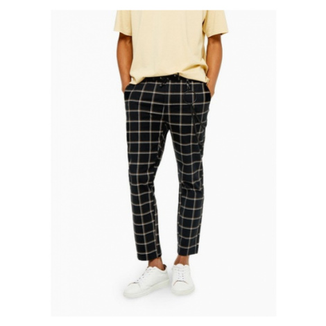 Mens Black And Yellow Check Trousers With Chain, Black Topman