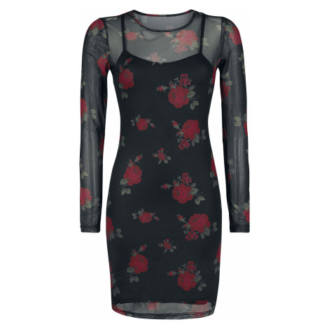 Forplay - 2 in 1 Mesh Roses Dress - Dress - black-red