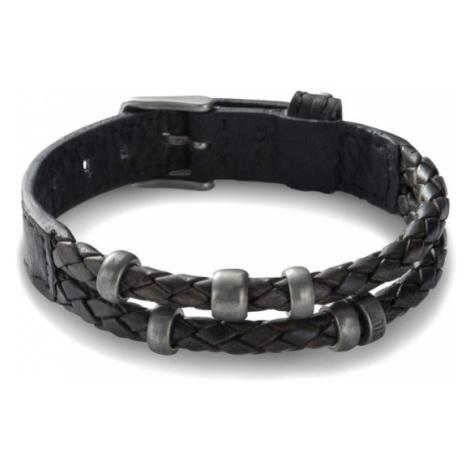 Fossil Men Leather Bracelet - Black - One size
