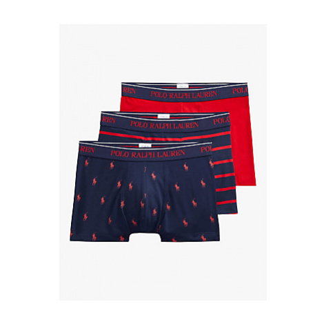 Polo Ralph Lauren Logo Stripe Plain Trunks, Pack of 3, Navy/Red