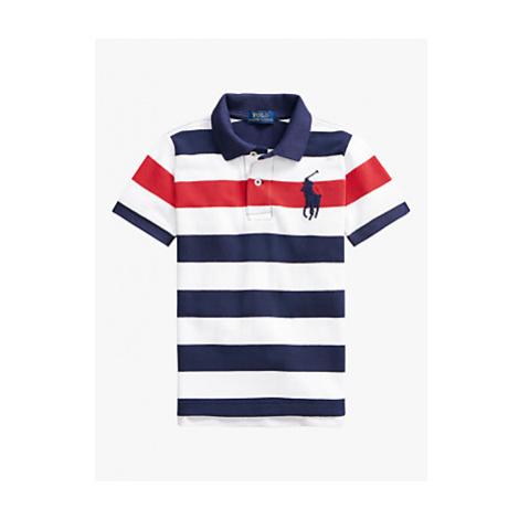Polo Ralph Lauren Boys' Bar Stripe Short Sleeve Polo Shirt, Newport Navy