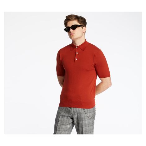 Pietro Filipi Men's Knitted Polo Shirt Terracotta