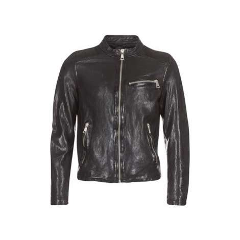 Black men's leather and faux leather jackets