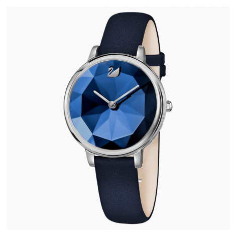Crystal Lake Watch, Leather strap, Blue, Stainless steel Swarovski
