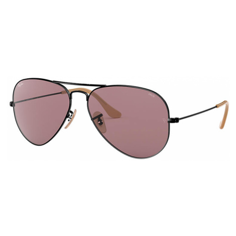 Ray-Ban Aviator washed evolve Unisex Sunglasses Lenses: Violet, Frame: Black - RB3025 9066Z0 55-