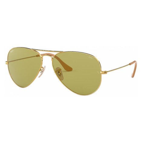 Ray-Ban Aviator washed evolve Man Sunglasses Lenses: Green, Frame: Gold - RB3025 90644C 55-14