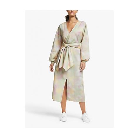Just Female Nikki Tie Dye Print Wrap Dress, Pastel