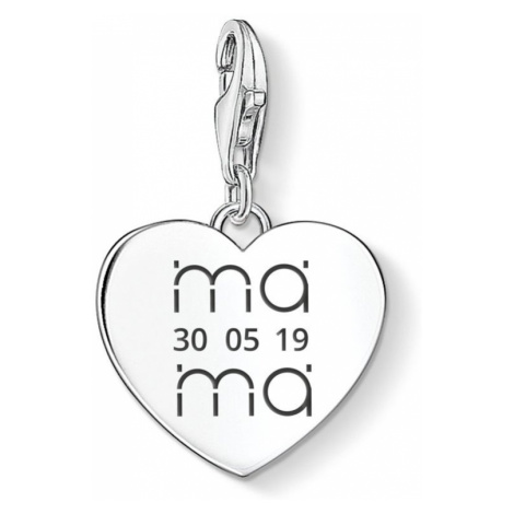 THOMAS SABO Charm Club Silver Mama Stacked & Date Heart Charm