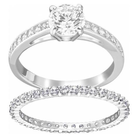 Attract Ring Set, White, Rhodium plated Swarovski