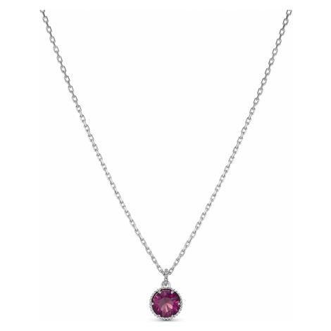 Birthstone Pendant, February, Purple, Rhodium plated Swarovski
