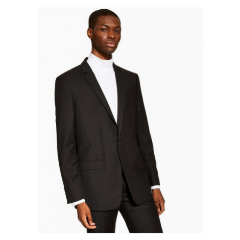 Mens Black Slim Fit Single Breasted Suit Blazer With Notch Lapels, Black Topman