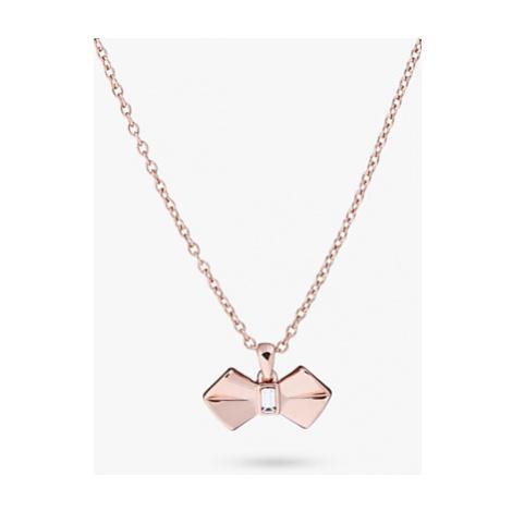 Ted Baker Swarovski Crystal Bow Pendant Necklace, Rose Gold