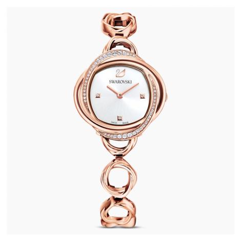 Crystal Flower Watch, Metal bracelet, Rose gold tone, Rose-gold tone PVD Swarovski